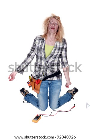 female electrician severely burned after an electric shock - stock photo