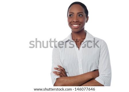 Female employee thinking something - stock photo