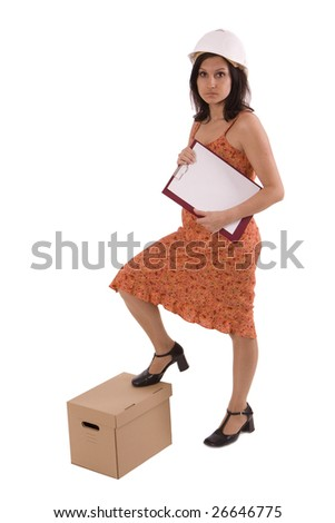 female engineer in orange dress  with clipboard and carton box