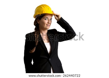 female engineer with helmet over white background