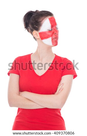 female english soccer fan is looking challenging, isolated on white - stock photo