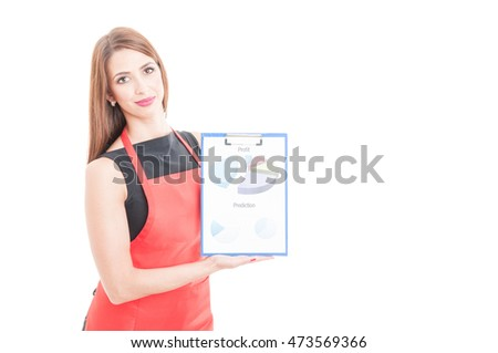 Female entepreneur holding clipboard with charts as successful business concept isolated on white