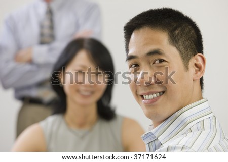 Female executive and senior manager meeting with junior executive. - stock photo