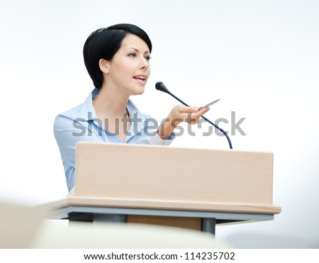 Female executive at the board. Business training - stock photo