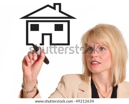 Female executive drawing image of a house. Great for real estate advertising - stock photo