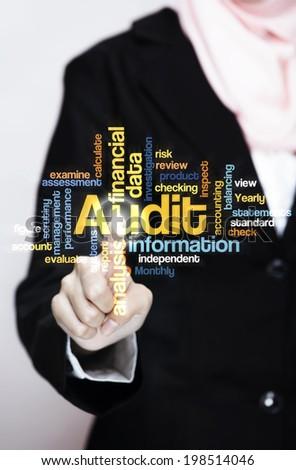 "Female Executive press virtual Screen-""Audit word cloud arrangement"" - stock photo"