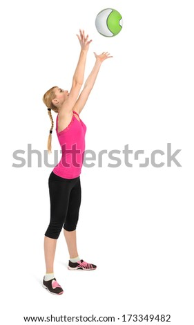 Female exercise with medicine ball. Phase 2 of 2, throwing. - stock photo