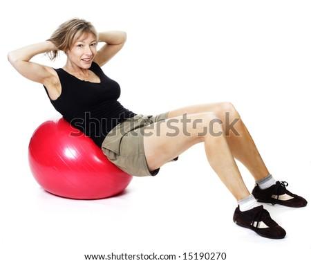 female exercising isolated on white - stock photo