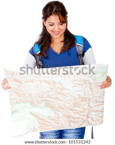 Female explorer holding a map - isolated over a white background - stock photo