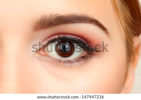 female eye with beautiful make-up - stock photo