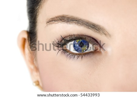 Female eye with earth image on white background - stock photo