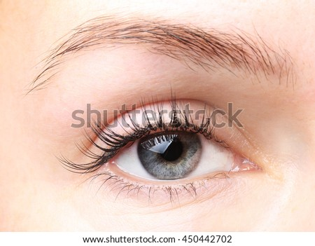 Female eye with long eyelashes without makeup close up - stock photo