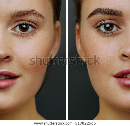 Female Face Perfect Skin Cut Half Stock Photo (Royalty Free ...