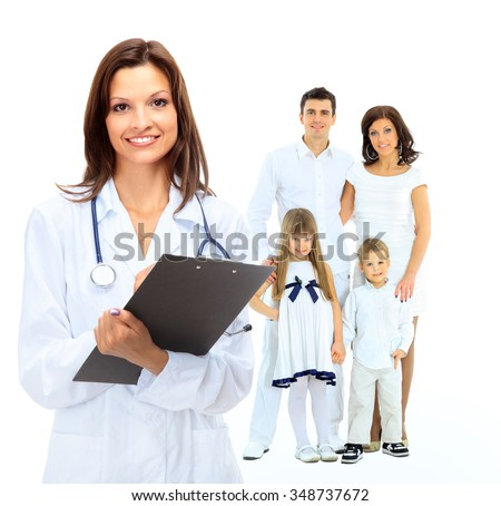 female family doctor on the background of a happy family - stock photo