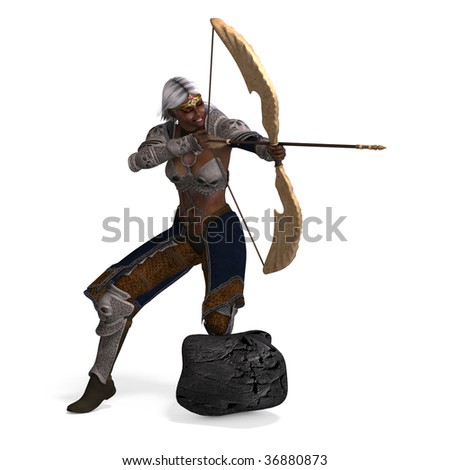 female fantasy archer elf with bow. rendering over with with clipping path and shadow