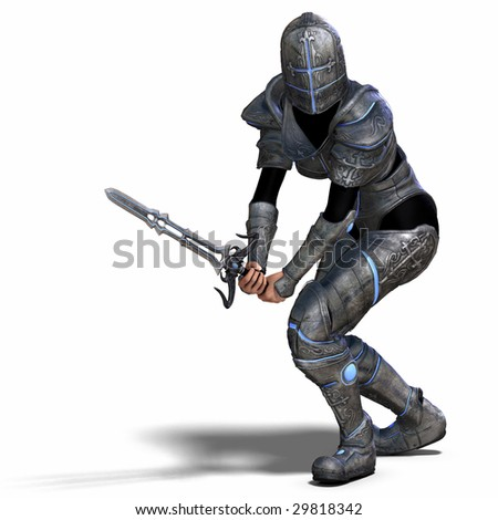 Female Fantasy Knight With Clipping Path over White - stock photo