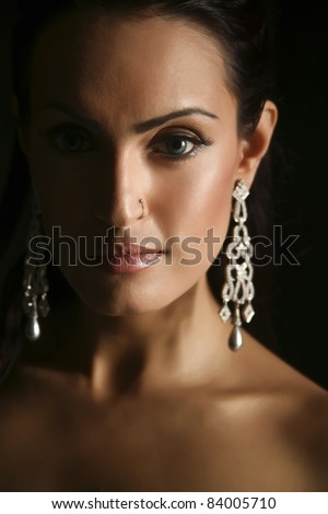 female fashion model wearing traditional Indian Jewelry