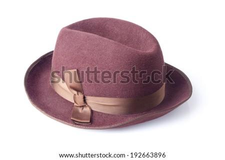 female felt hat isolated on white background - stock photo