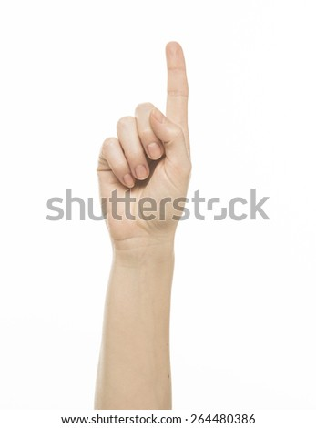 Female finger counting gesture, isolated on white