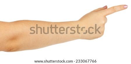 Female finger point isolated white background - stock photo