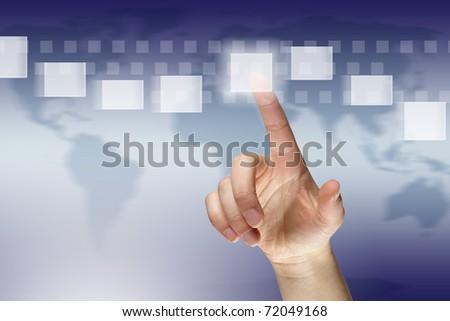 Female finger pressing virtual button - stock photo