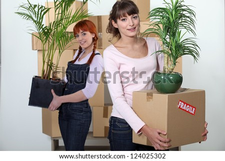 female flatmates carrying cardboard boxes and plants - stock photo