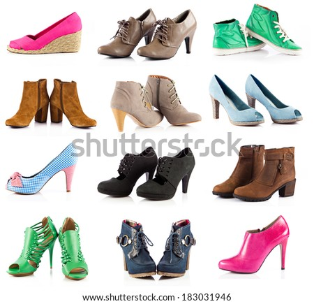 female footwear. female shoes over white - stock photo