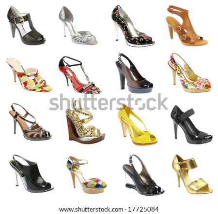 female footwear on a white background. 16 pieces. - stock photo