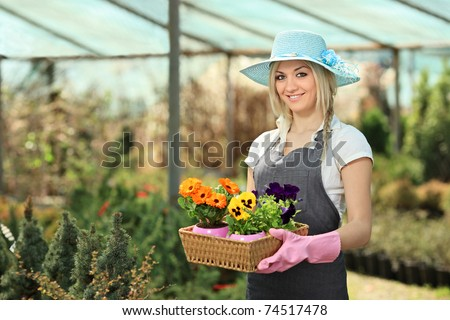 Female gardener holding a basket with flower pots in a garden
