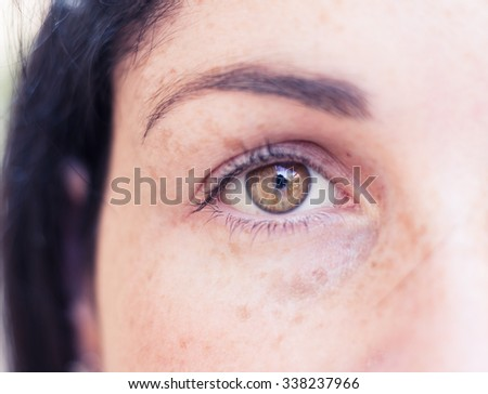 Female gaze. Young adult girl watching on camera. Very close up portrait. Selective focus on the bright brown eye. - stock photo