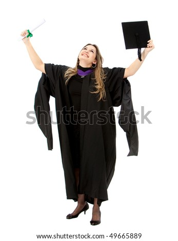 Female graduate holding her diploma and smiling isolated over a white background - stock photo