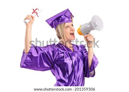 Female graduate student speaking on a megaphone isolated on white background - stock photo