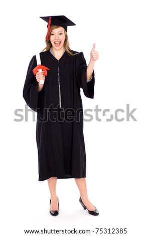 Female graduate with thumb up