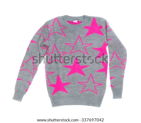 Female gray sweater with red stars. Isolate on white. - stock photo