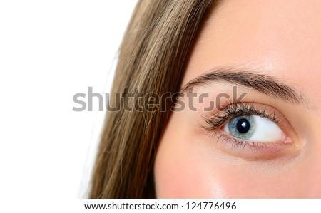 female green-blue eye closeup, looking left - stock photo