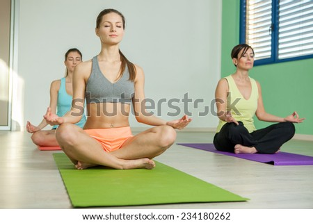 Female group is doing yoga exercises in a fitness club - stock photo