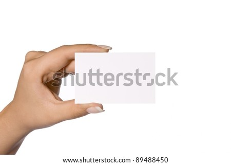 Female hand and empty business card - stock photo