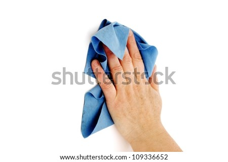 Female hand cleaning surface - stock photo