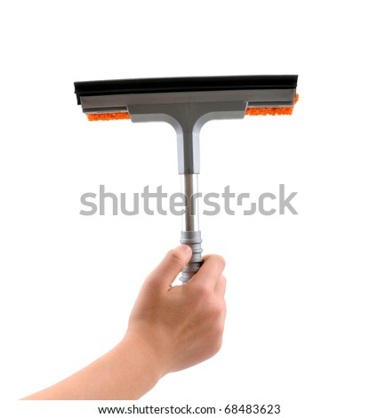 Female hand cleaning with rubber window cleaner isolated on white background. - stock photo