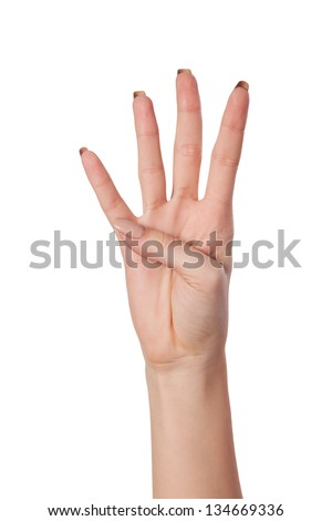 Female hand gesture number four closeup isolated on a white background - stock photo