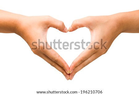 female hand heart shape on the isolated background, clipping path