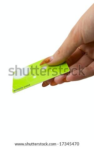 Female hand hold bonus card on white - stock photo