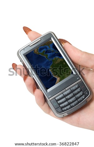Female hand hold communicator with earth at screen. - stock photo