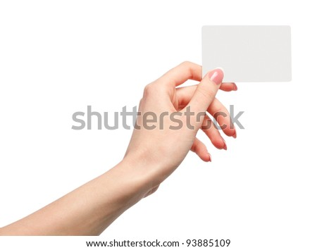Female hand holding a blank business card - stock photo