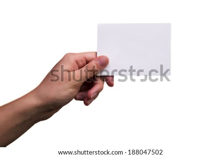 Female Hand Holding a Blank Note - stock photo