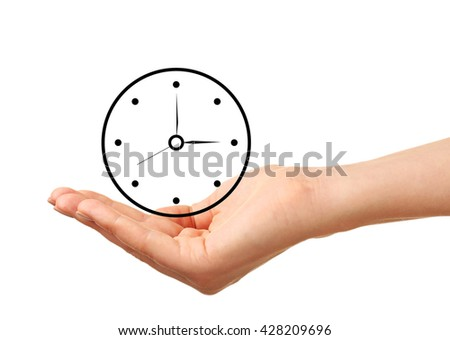 Female hand holding a clock isolated on white - stock photo
