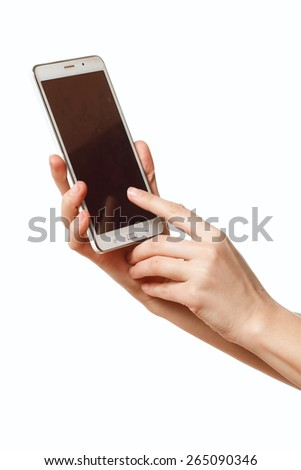 female hand holding a mobile phone - stock photo