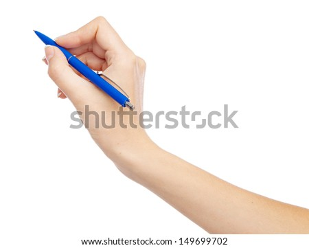 Female hand holding a pen, isolated on white background - stock photo