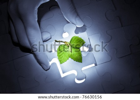 Female hand holding a piece of puzzle with the new plant above. Blue tone image, focus on plant. - stock photo