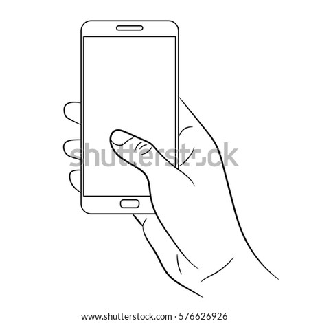 how to draw a hand holding a phone